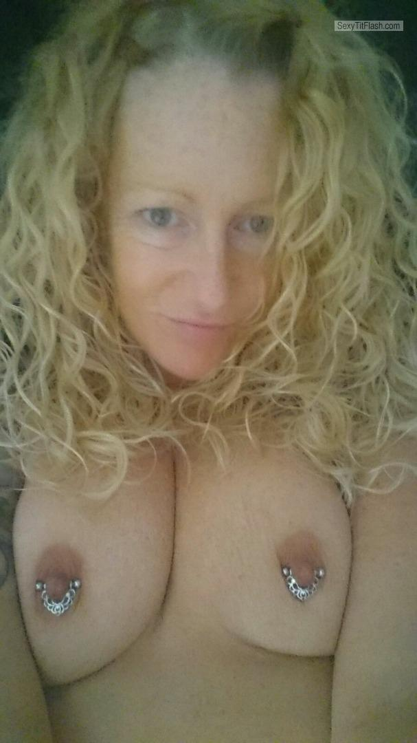 Tit Flash: My Big Tits (Selfie) - Topless Mell from United KingdomPierced Nipples